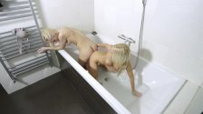 Hot blondes go ass to ass on one dildo