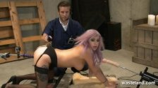Sex slave fucked between two fuck machines