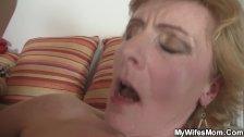 Girlfriends hot mom helps him cum