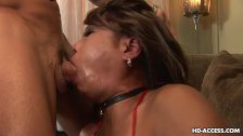 Slutty Asian darling sucking a huge cock with
