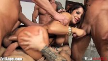 EvilAngel Slutty MILF DP and Facial Gangbang