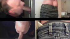 Blowing Hot Muscle Guy In The Gloryhole 4 Way