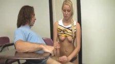 Blonde bimbo handjob