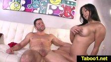 Mia Li gives HJ to stepbros cock