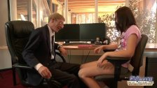 Crusty old boss fucks his 20 yo secretary