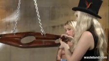 Sexy blonde sex slave teased and pleased