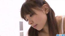 Buruma Aoi cock sucking teen gets cum on her