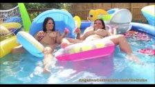 Angelina Castro & Ms Raquel pool Masturbation