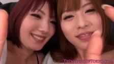Soapy japanese teens in threeway kissing