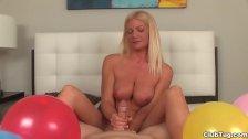 Super hot blonde milf POV handjob