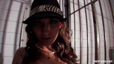 Film noir gangster Dani teases her pussy