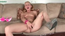 Hypnotized blonde masturbating