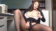 Mei Sawai Asian pleasures her hairy pussy wi