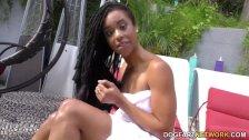 Beautiful ebony Kira Noir goes anal