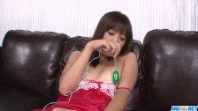 Momoka Rin shows off in red lingerie masturba