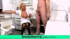 Czech milf doctor Koko Margit cfnm handjob