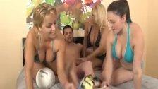 Three horny babes handjob