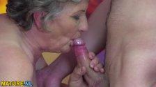 Chubby granny gets banged on MatureNL