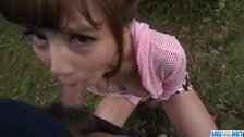 Anna Anjo deals cock in perfect outdoor POV