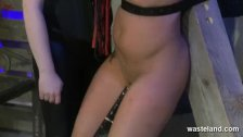 Slave brought to orgasm by fuck machine