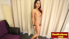Closeup asian ladyboy masturbating and posing