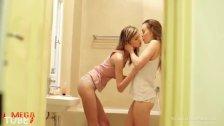 Skinny beautiful lesbians in the bathroom