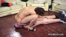Brunette smothers and facesits husband