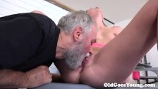Martina loved how this old  sucking her tits