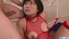 Aika Hoshino red lingerie model fucked until