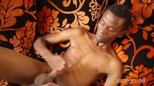 Black African Twink Strokes His Big Dick and