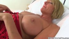 British milf Amy fucks a dildo