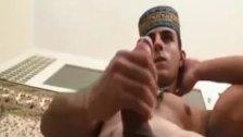 Muscular Latino Strokes His Big Dick