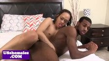 Black tgirl assfucking after getting rimmed