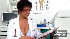 Hot legs milf Nora jacking off a patient boy