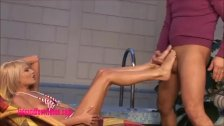 Sexy as fuck Cute Blond gives footjob and fuc