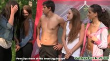 University babes group fucked outdoor