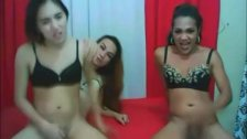 Threesome Hot Asian Shemales go on WILD