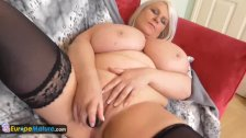 EuropeMature Old Chubby Sami plays with big t