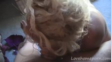 Blonde wife provides her man with a blowjob