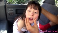 Japanese schoolgirl blowing cock in the car