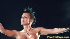 crazy fetish needle show on stage