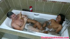 Foot loving dilf sucking twinks toes in bath