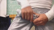Hung Boner In Silver Shorts And Jerking Off