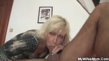 Blonde mother in law seduces him to sex