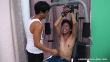 Asian Boy Idol Tickled On The Gym