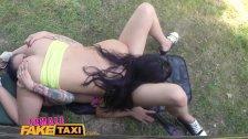 FemaleFakeTaxi Hot lesbian fun in British cab