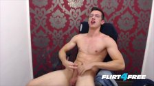 Twink With Glasses Wanks His Huge Uncut Cock
