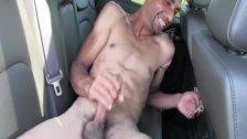 Euro amateur jerking dick on backseat