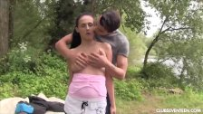 Chesty teen Nicole gets pounded outdoors