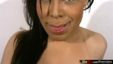 Chubby Latina tranny spreads huge butt and jerks tiny cock